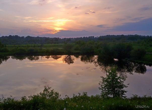 Вечер у озера Природа Ухты и Коми Ухта