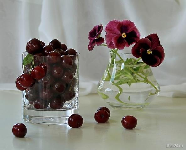 Натюрморт с вишней и цветами Разное Ухта