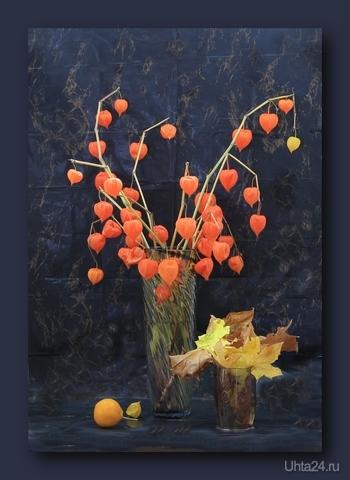 Натюрморт с осенними листьями и фезалисом  Ухта