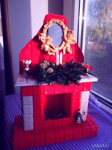 Новогодний камин красный с подсветкой.Может кому пригодится, как идея подарка. Творчество, хобби Ухта