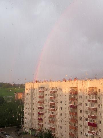 Летний дождик и радуга.  Ухта