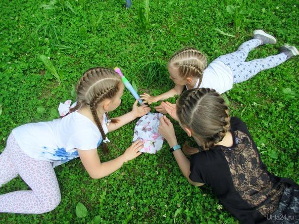 Три подружки на лужайке.  Ухта