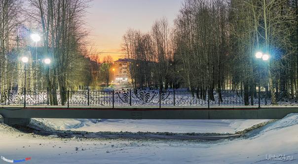 Предзимний зимний парк Улицы города Ухта