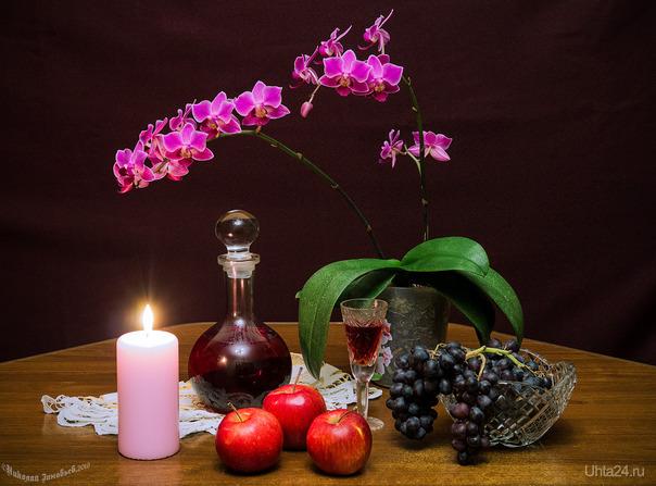 Собрал небольшой натюрморт с участием орхидеи, нужно было её запечатлеть)  Ухта