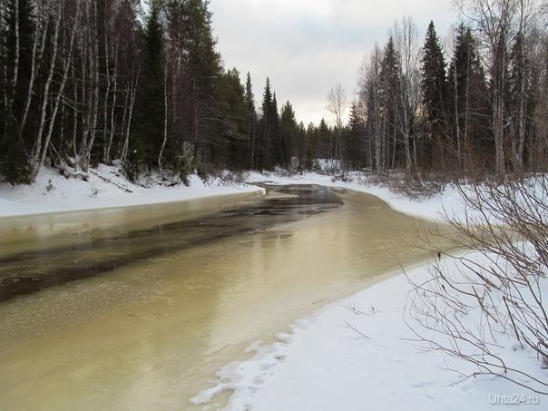 замерзают потихоньку коми реки у коми гор Природа Ухты и Коми Ухта