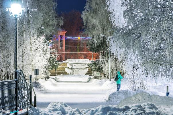 Сказочный зимний парк, как видно, не я один захотел это запечатлеть) Улицы города Ухта