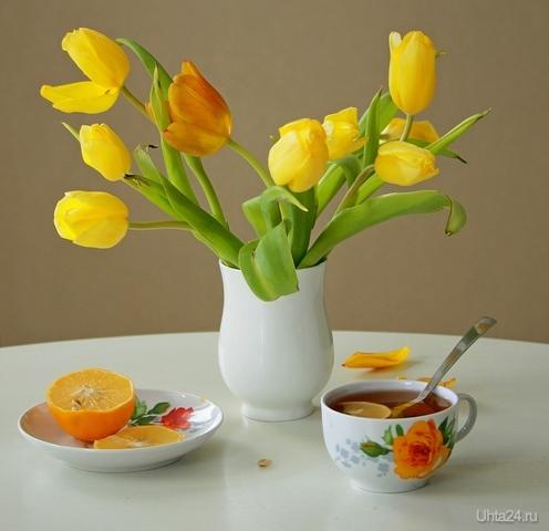 Натюрморт с чашкой чая и тюльпанами Разное Ухта