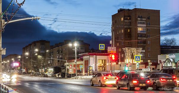 Мартовский вечер на проспекте Ленина Улицы города Ухта