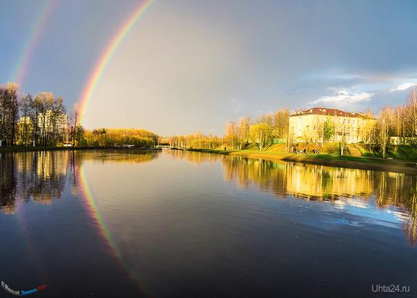 Солнце вешнее с дождем Строят радугу вдвоем — Семицветный полукруг Из семи широких дуг)  Ухта