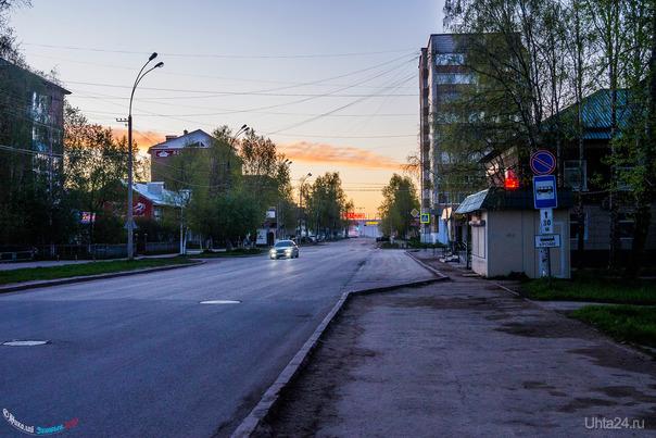 Белые ночи мая, время 01:30 Улицы города Ухта