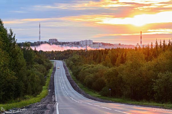 Ухта ранним утром на рассвете... Улицы города Ухта